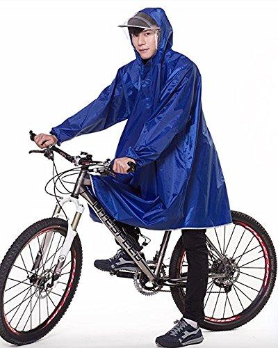Raymall レインコート ポンチョ 袖付き 自転車用 カラー6色 男女兼用 (ブルー)