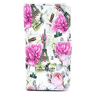 Peony Flower Tower Pattern PU Leather Full Body Case with Card Slot for Samsung Galaxy S5
