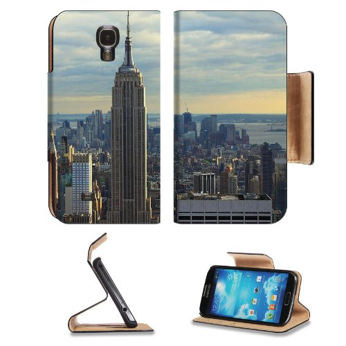 Empire State Building New York City Samsung Galaxy S4 Flip Cover Case With Card Holder Customized Made To Order Support Ready Premium Deluxe Pu Leather 5 1/2 Inch (140Mm) X 3 1/4 Inch (80Mm) X 9/16 Inch (14Mm) Msd S Iv S 4 Professional Cases Accessories O