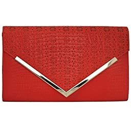 BMC Womens Bright Red PU Leather Alligator Skin Pattern Perforated Glitter Metal Accent Envelope Flap Clutch Handbag