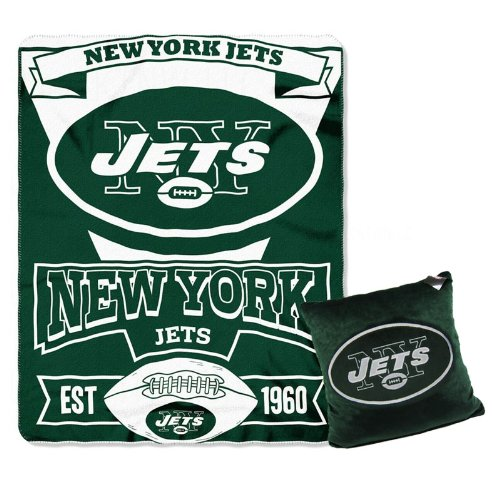 A Set Of 2 Piece Gift Set: 1 Nfl Team Pillow And 1 Nfl Fleece Throw Team Blanket - New York Jets