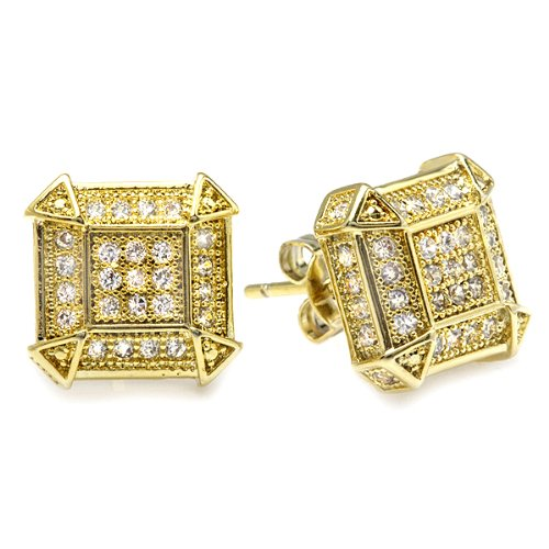 18K Yellow Gold Plated Clear CZ Cubic Zirconia Cube Shaped Hip Hop Iced Cube Stud Earrings (9.5 mm x 9.5 mm )