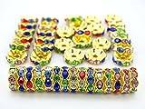 腕輪ネックレスイヤリング宝石類制作手仕事デザインのためのバッグあたりjennysun2010チェコクリスタルラインストーン18K金メッキ10mm マルチ色ラウンド丸ガラス波状エッジスペーサービーズ100pcs