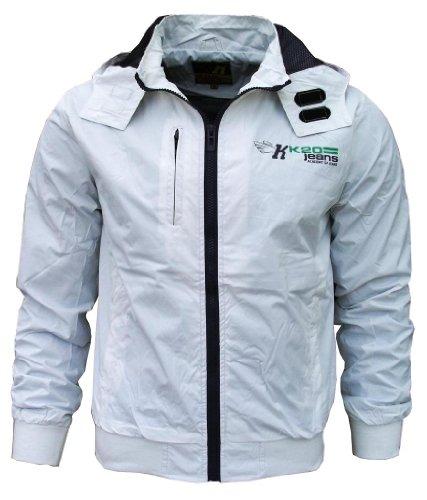 K20 Jeans Sonic Men's Lightweight Sports Rain Wind Jacket white / purple Large