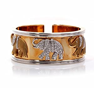 Heavy Estate Elephant Diamond 18k Gold Wide Bangle Cuff Bracelet
