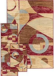 Well Woven Miami Riga Circles Red Abstract Geometric Area Rug 5X7 Set (4\'5\