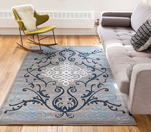 Zephyr Blue Traditional Oriental Sarouk Medallion Modern Casual Floral 5x7 ( 5' x 7'2'' ) Area Rug Thick Soft Plush Shed Free
