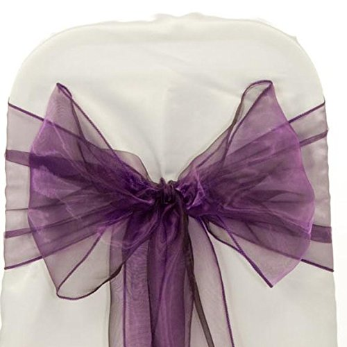 MDS 10 Organza Chair Cover Bow Sash Wedding Banquet Decor -dark purple