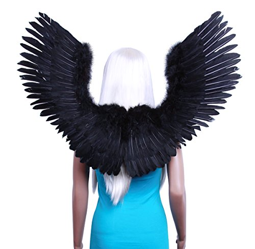 FashionWings (TM) Black Open Swing V Shape Costume Feather Angel Wings Adult Unisex (Black Devil Costume compare prices)