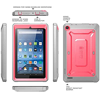 Fire 7 Case, SUPCASE [Heavy Duty] Case for 2015 Release Amazon Fire 7 Tablet [Unicorn Beetle PRO Series] Rugged Hybrid Protective Cover w Builtin Screen Protector Bumper by SUPCASE
