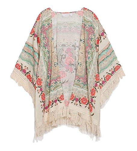 Minetom Donne Moda Bohemian Style Allentata Casuale Fiore Cardigan Camicetta Supera la Maglietta ( EU L )