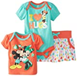 Disney Baby Baby-Girls Newborn Minnie Mickey 3 Piece Skirt Set