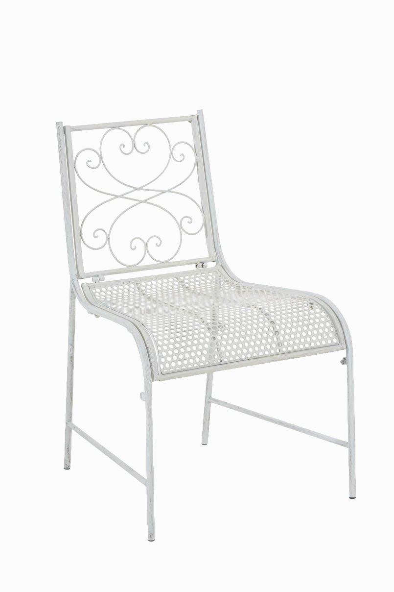 CLP nostalgischer Stuhl ALVA aus Eisen (aus bis zu 6 Farben wählen) antik weiß