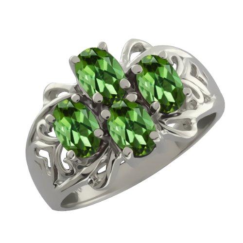1.60 Ct Oval Green Tourmaline 14k White Gold Ring Jewelry