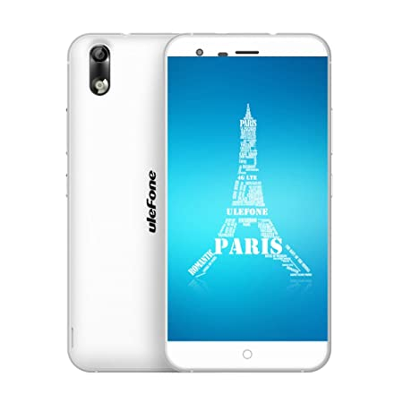 Ulefone Paris 4G Android 5.1 64bit Octa-Core 2GB RAM 16GB ROM LTE Smartphone + Housse de Protection et Protecteur d'écran en Verre Trempé (Blanc)