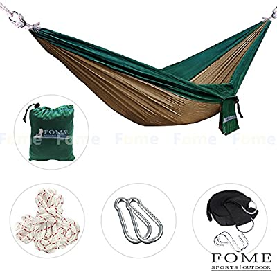 FOME Parachute Fabric Hammocks Ultralight Camping Hammock Hanging Bed 108 x 57 inch 440lbs Capacity + Free Hammock Tree Hanging Adjustable Straps + FOME Gift
