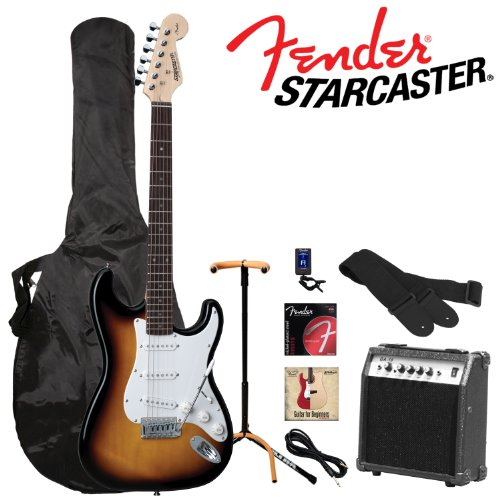 Fender Starcaster Sunburst Electric Stratocaster Guitar Kit - Includes: Guitar Stand, Strap, and Gig Bag. Additional accessories included: 10 Watt Guitar Amp, 10' Cable, Guitar Tuner, Strings and Fender/GoDpsMusic 12 Pack Pick Sampler Pack and Info sheet (DPS-FN-SAMPLER)