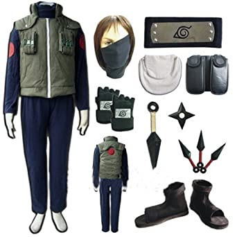 Naruto Hatake Kakashi Cosplay Costume Set (Mask+gloves+headand+shoes) Size