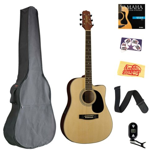 Jasmine Es35C Dreadnought Acoustic-Electric Guitar Bundle With Gig Bag, Tuner, Strap, Strings, Picks, And Polishing Cloth - Natural