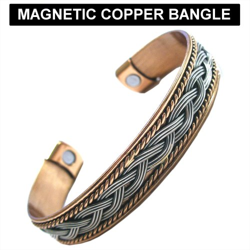 Magnetic Copper & Rhodium Bangle Bracelet With 2 High Strength Magnets Plaited Wires Design (Size: Medium)