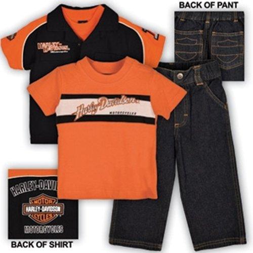 Harley-Davidson Boys Toddler 3 Piece Prestige Pit Crew Shirt & Denim Pant Set 2T front-173476