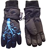 Nice Caps Girls Thinsulate Glove with Flower Tattoo Print (8-12yrs, black/turq)