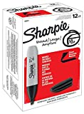 Sharpie Permanent Markers, Chisel Tip, Black, Box of 12