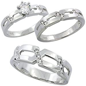 Sterling Silver Diamond Simulant Three Piece Matching Wedding Bridal Set 4mm & 6.5mm Wide Size N
