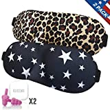 Sleep Mask 2 Pack with Earplugs, Comfortable & Soft Night Eye Masks 3D-Contoured Eyeshade with Adjustable Strap Blindfold for Women Men Kids Sleeping/