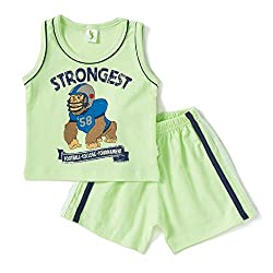 Cucumber Sleeveless Gorilla Face Print T-Shirt & Set - Light Green (0 to 3 months)