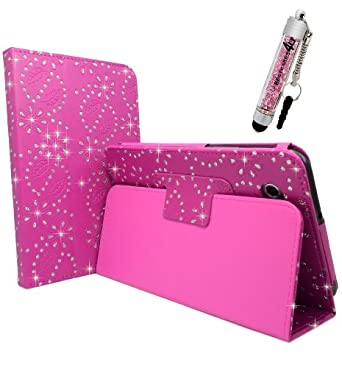 Samsung Galaxy Tab 3 (T310 / T315 / T3100 / T3110/ P8200 / P8210) 8'' Inch Hot Pink Glitter Diamond Crystal Bling Sparkly Floral Print Book Wallet Folio Case Cover Pu Leather Magnetic Stand View Plus Free Matching Crystal Stylus Pen