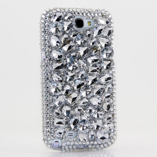 Samsung Note 2 Luxury 3D Bling Case - Elegant Clear Silve Gem Beauty Design - Swarovski Crystal Diamond Sparkle Girly Protective Cover Faceplate (100% Handcrafted By Star33Mall) front-66794