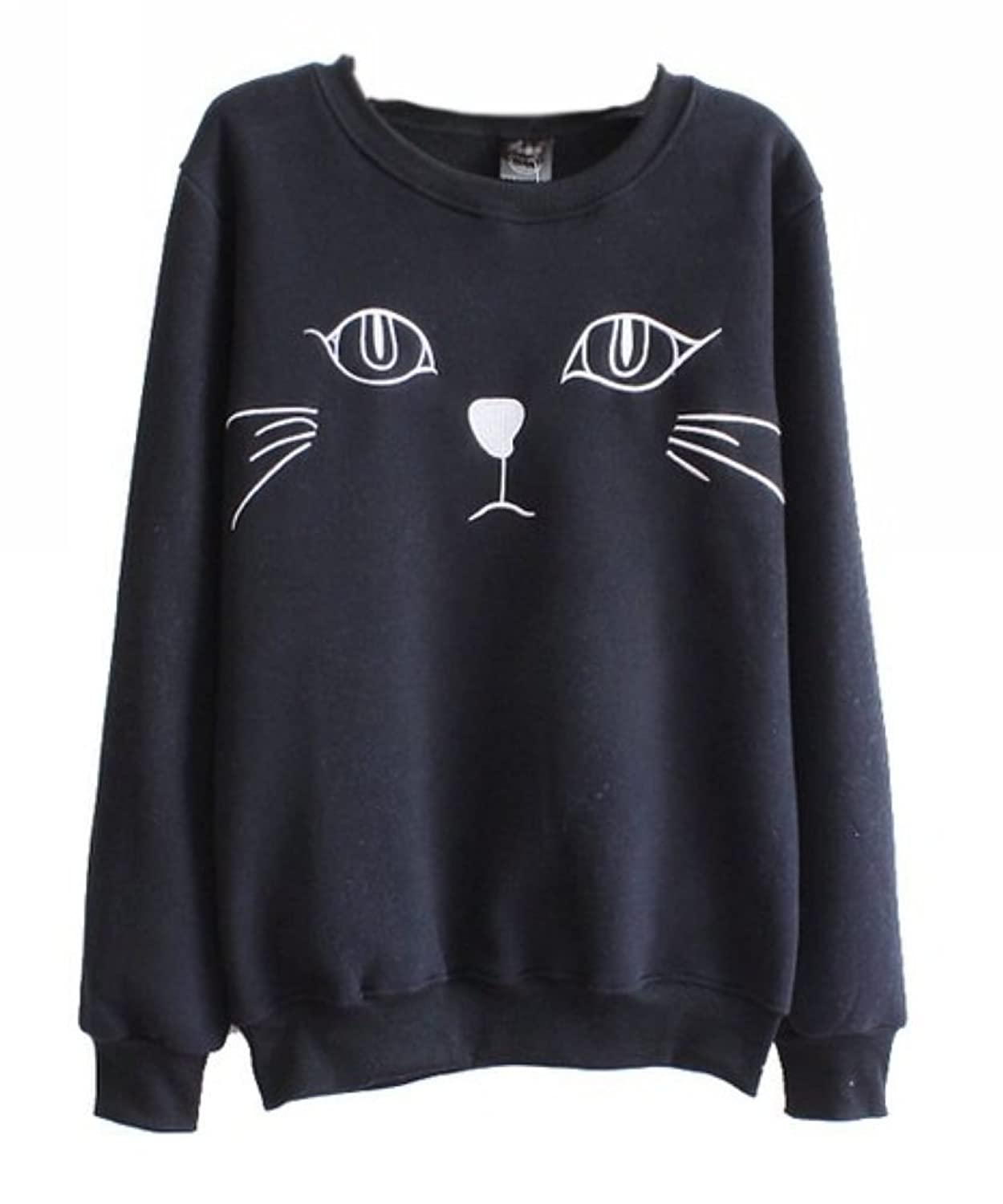 Uget Women's sports loose long-sleeved round neck cat face sweatshirts анна керн муза а с пушкина amorfati рипол классик