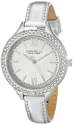 Caravelle by Bulova Women's Silver-Tone Leather Band Steel Case Quartz Analog Watch 43L167
