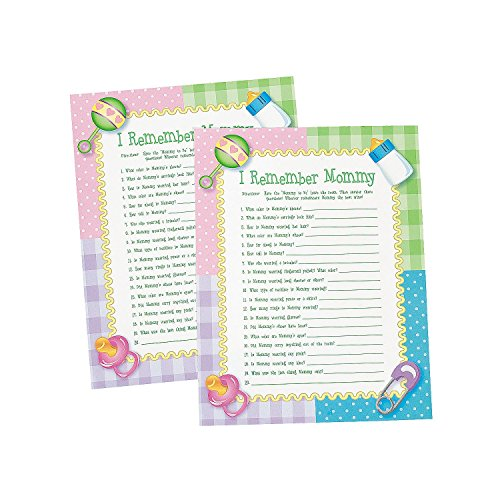"Paper "" I Remember Mommy"" Baby Shower Game (144 Pcs) - 1"