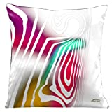 Lama Kasso Contempo White with Aqua 1 Red and Gold Accents on a White Satin 18-Inch Square Pillow Design on Both Sides