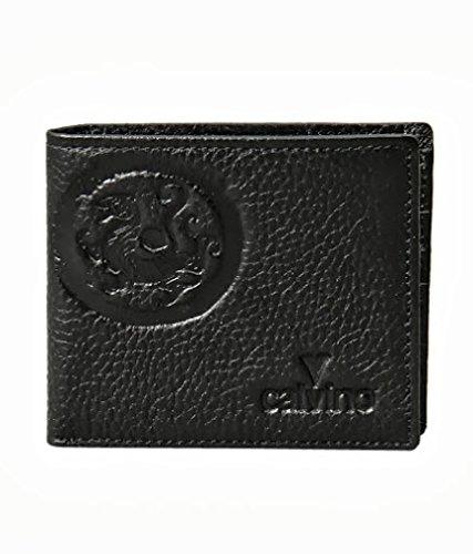 Calvino Calvino Trendy Stitch Embossed Textured Black Men's Wallet