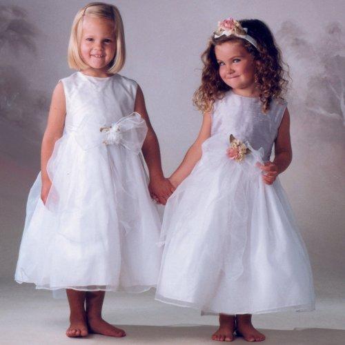 NWT Brand New Sara Lene Flower Girl Wedding Silk Top White Dress From Baby to Teens