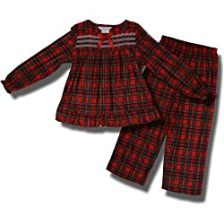 Holiday Red Plaid Flannel Pajamas For Girls