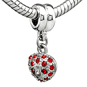 Heart January Birthstone Love Bead Fits Pandora Charm Bead Bracelet