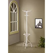 Pure White,Elegant Coat Rack with Umbrella Stand