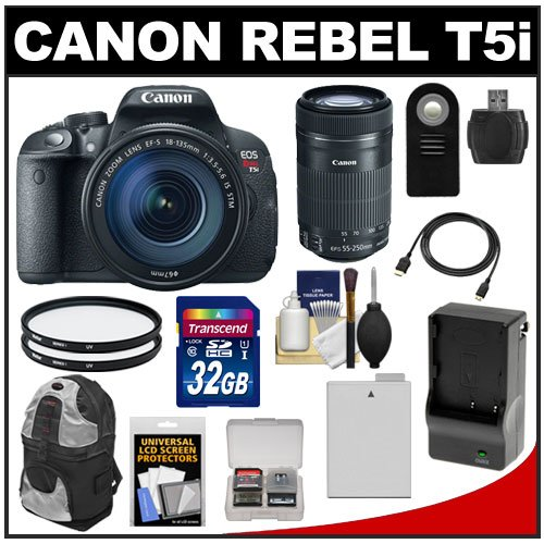 Canon Eos Rebel T5I Digital Slr Camera & Ef-S 18-135Mm Is With Ef-S 55-250Mm Is Stm Lens + 32Gb Card + Battery + Backpack + Filters + Accessory Kit