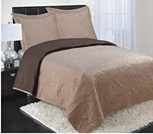 RT Designers Collection 3-Piece Reversible Coverlet, Queen, Taupe