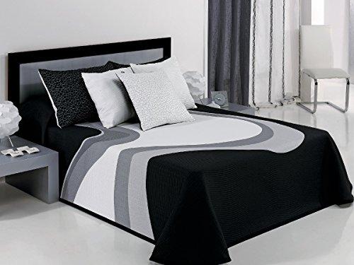 Textilhome Colcha Capa VANYA - Cama 150cm. Color Negro