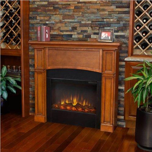 Bradford Slim Line Electric Fireplace - Pecan image B00G7TLJQ2.jpg
