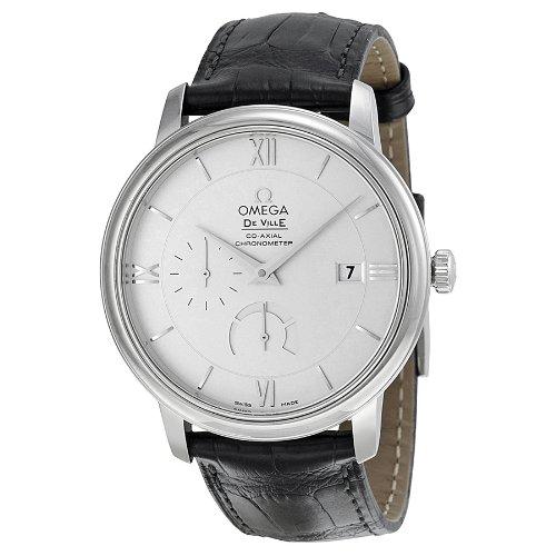 Omega De Ville Prestige esfera plateada De piel De color negro reloj De los hombres 424,13,40,21,02,001