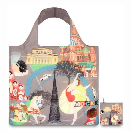 (ローキー)LOQI エコバッグ REUSABLE BAGS ポーチ付き ショッピングバッグ URBAN Moscow 【URBAN01-c】