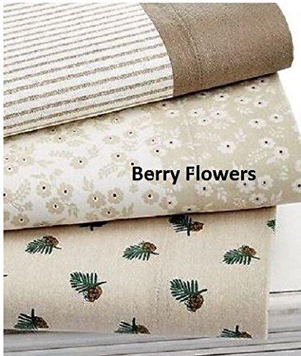 Martha Stewart Berry Flowers King Flannel Sheet Set Cream / Red front-1005899