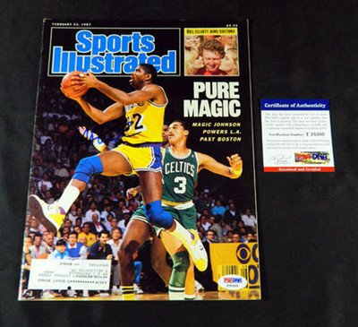 Magic Johnson Signed Sports Illustrated Lakers 2/23/87 Auto - PSA/DNA Certified - Autographed NBA Magazines