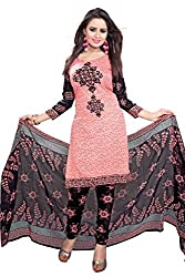 Galaxy Women's Multi-Coloured Printed Poly-Cotton Dress Material (Free Size_Pink)